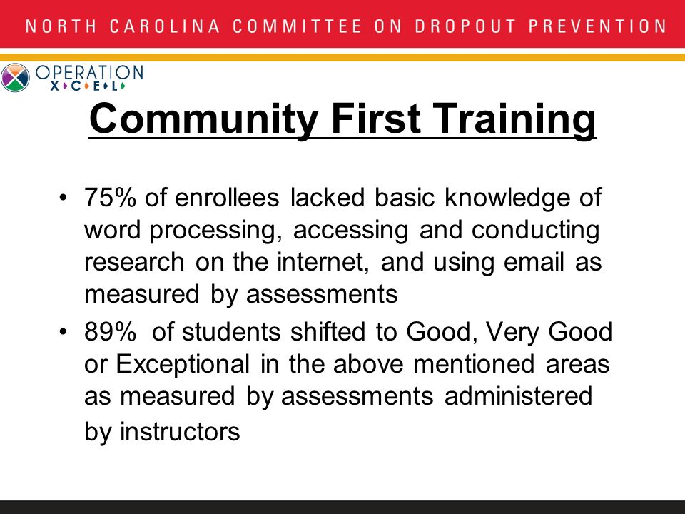Community First Training 75% of enrollees lacked basic knowledge of word processing, accessing and conducting research on the internet, and using email as measured by assessments 89% of students shifted to Good, Very Good or Exceptional in the above mentioned areas as measured by assessments administered by instructors