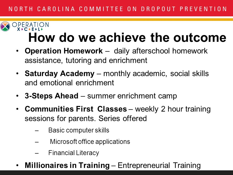 How do we achieve the outcome Operation Homework – daily afterschool homework assistance, tutoring and enrichment Saturday Academy – monthly academic, social skills and emotional enrichment 3-Steps Ahead – summer enrichment camp Communities First Classes – weekly 2 hour training sessions for parents.