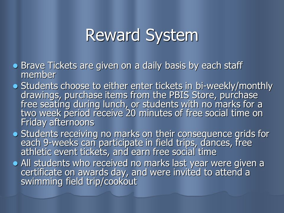Reward System Brave Tickets are given on a daily basis by each staff member Brave Tickets are given on a daily basis by each staff member Students choose to either enter tickets in bi-weekly/monthly drawings, purchase items from the PBIS Store, purchase free seating during lunch, or students with no marks for a two week period receive 20 minutes of free social time on Friday afternoons Students choose to either enter tickets in bi-weekly/monthly drawings, purchase items from the PBIS Store, purchase free seating during lunch, or students with no marks for a two week period receive 20 minutes of free social time on Friday afternoons Students receiving no marks on their consequence grids for each 9-weeks can participate in field trips, dances, free athletic event tickets, and earn free social time Students receiving no marks on their consequence grids for each 9-weeks can participate in field trips, dances, free athletic event tickets, and earn free social time All students who received no marks last year were given a certificate on awards day, and were invited to attend a swimming field trip/cookout All students who received no marks last year were given a certificate on awards day, and were invited to attend a swimming field trip/cookout