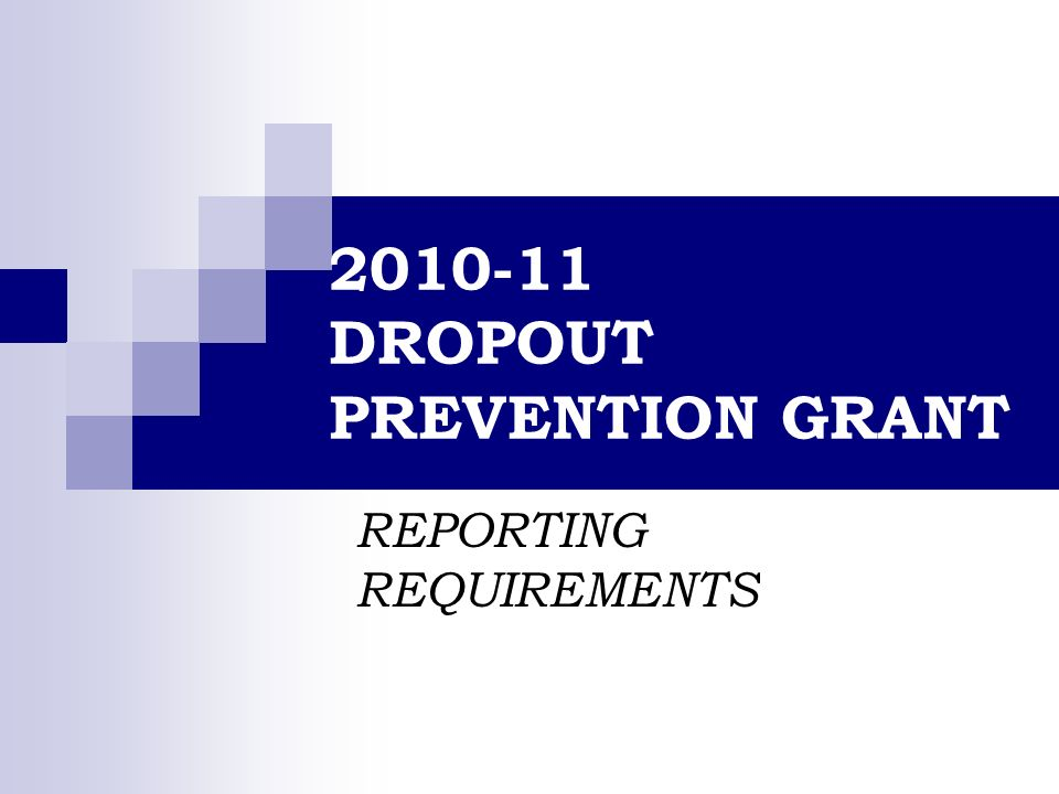 2010-11 DROPOUT PREVENTION GRANT REPORTING REQUIREMENTS