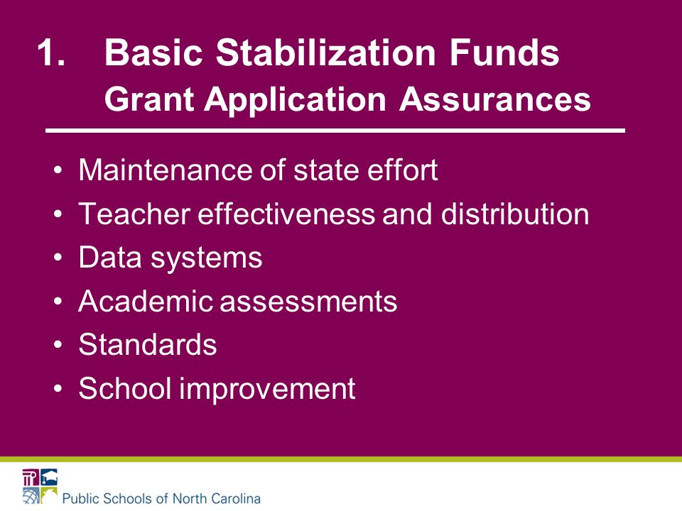 1.Basic Stabilization Funds Grant Application Assurances Maintenance of state effort Teacher effectiveness and distribution Data systems Academic assessments Standards School improvement