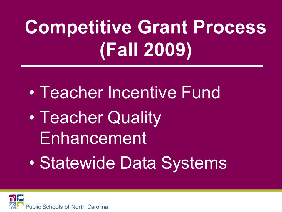Competitive Grant Process (Fall 2009) Teacher Incentive Fund Teacher Quality Enhancement Statewide Data Systems