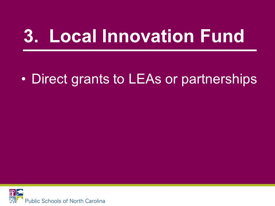 3. Local Innovation Fund Direct grants to LEAs or partnerships