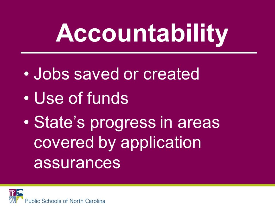 Accountability Jobs saved or created Use of funds States progress in areas covered by application assurances