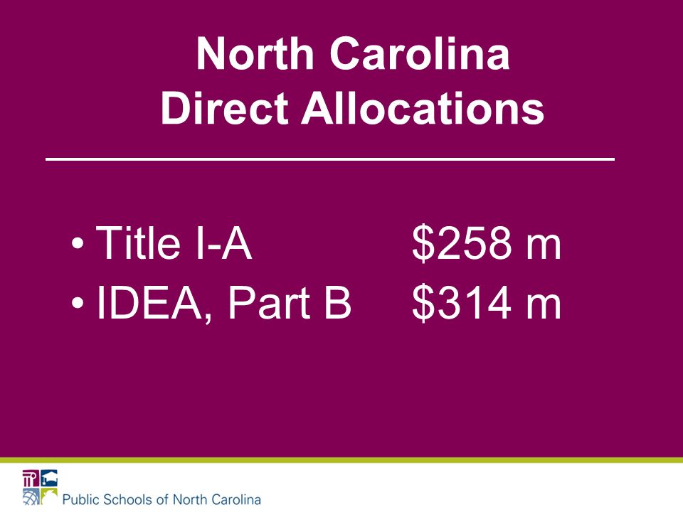 North Carolina Direct Allocations Title I-A$258 m IDEA, Part B$314 m