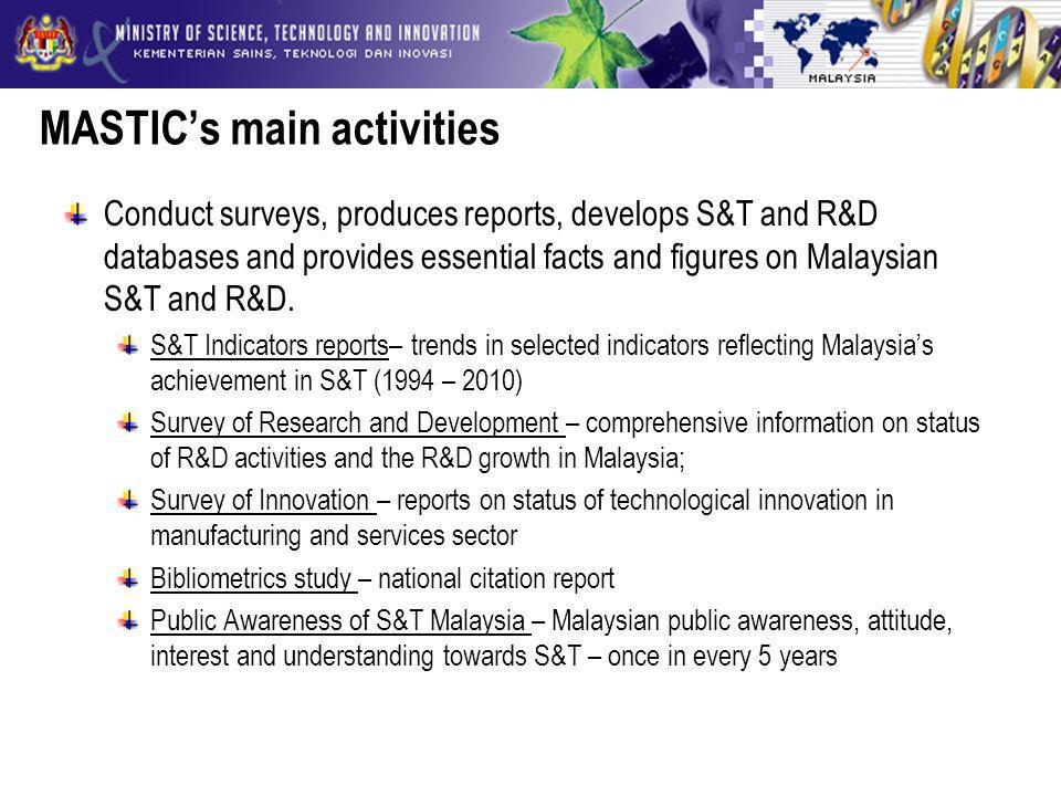 MASTICs main activities Conduct surveys, produces reports, develops S&T and R&D databases and provides essential facts and figures on Malaysian S&T and R&D.