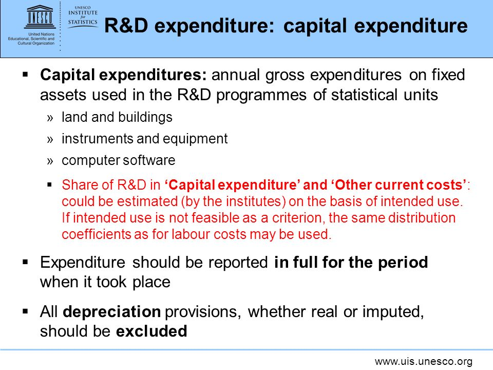www.uis.unesco.org R&D expenditure: capital expenditure Capital expenditures: annual gross expenditures on fixed assets used in the R&D programmes of statistical units »land and buildings »instruments and equipment »computer software Share of R&D in Capital expenditure and Other current costs: could be estimated (by the institutes) on the basis of intended use.