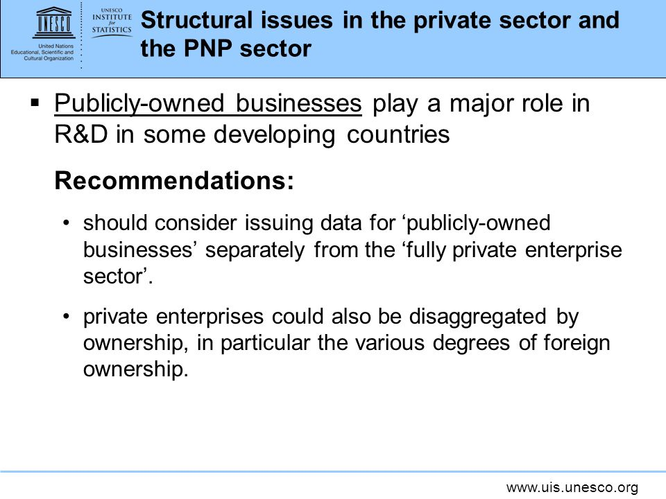 www.uis.unesco.org Structural issues in the private sector and the PNP sector Publicly-owned businesses play a major role in R&D in some developing countries Recommendations: should consider issuing data for publicly-owned businesses separately from the fully private enterprise sector.