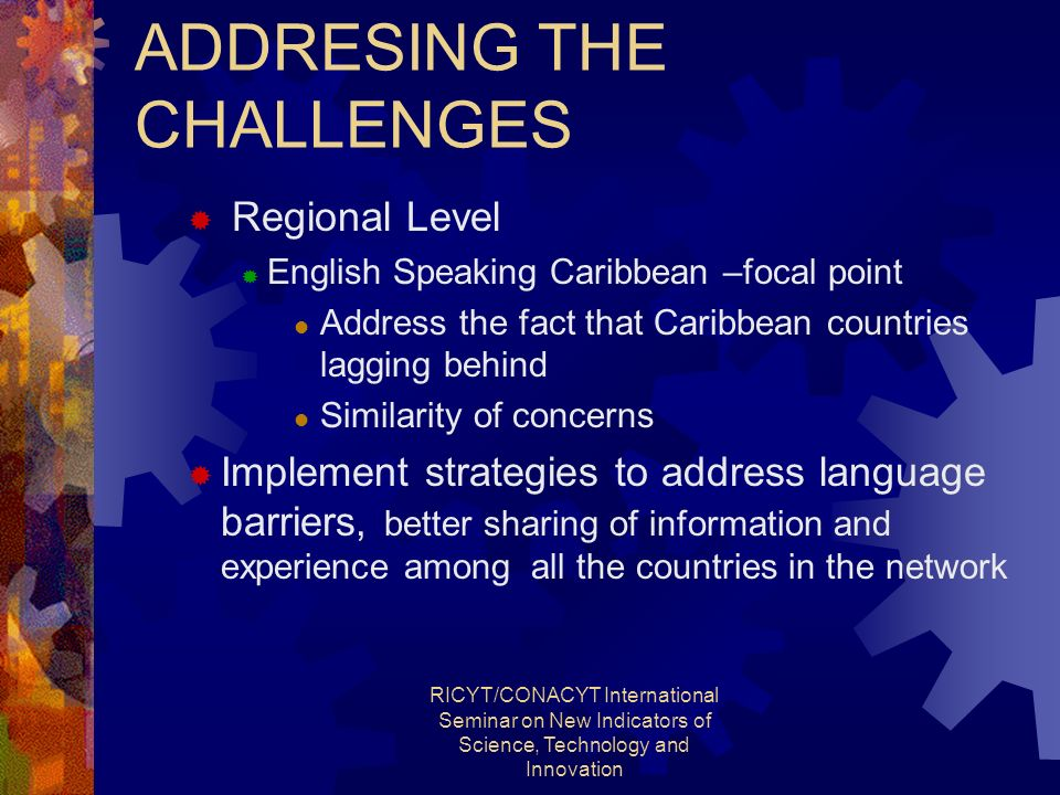 RICYT/CONACYT International Seminar on New Indicators of Science, Technology and Innovation ADDRESING THE CHALLENGES Regional Level English Speaking Caribbean –focal point Address the fact that Caribbean countries lagging behind Similarity of concerns Implement strategies to address language barriers, better sharing of information and experience among all the countries in the network