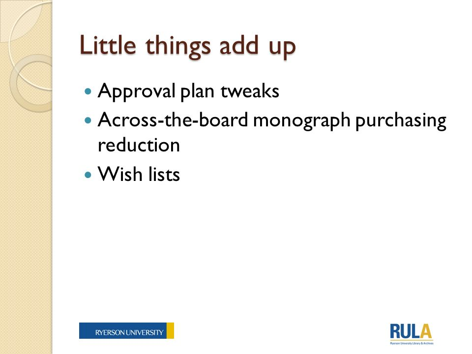 Little things add up Approval plan tweaks Across-the-board monograph purchasing reduction Wish lists