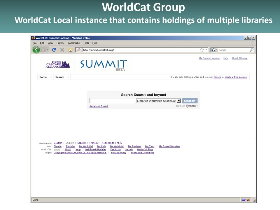 WorldCat Group WorldCat Local instance that contains holdings of multiple libraries