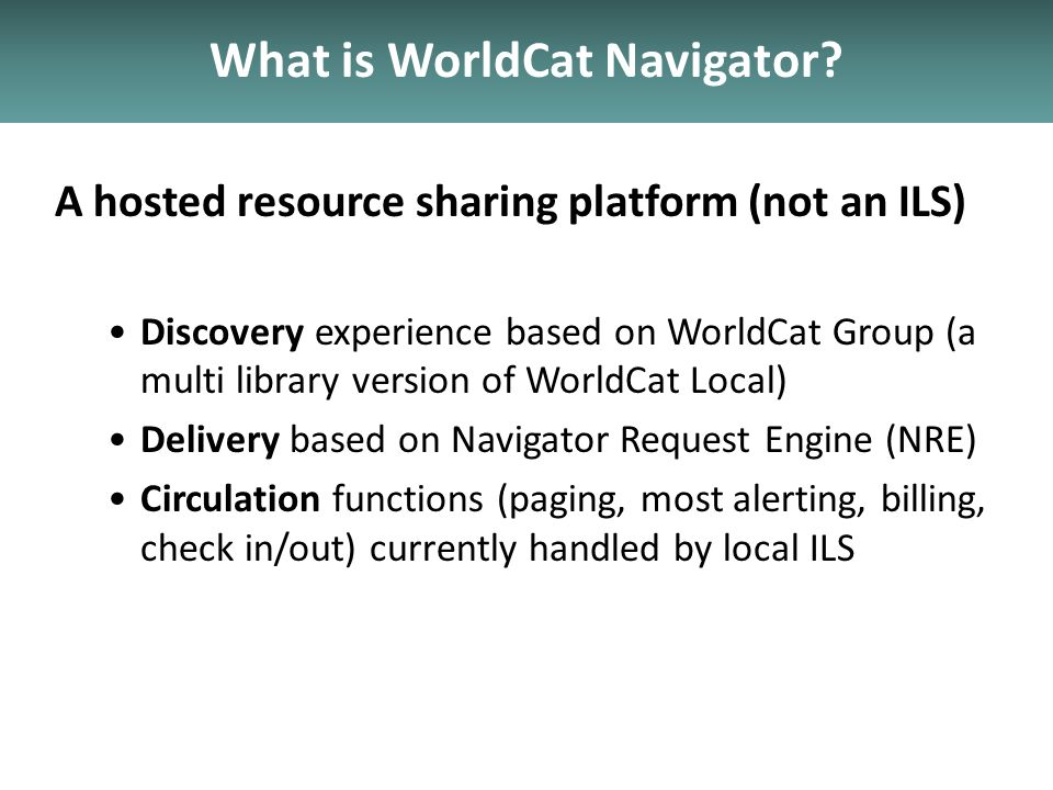 What is WorldCat Navigator.