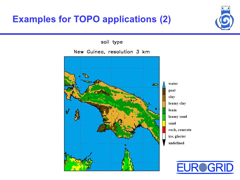 Examples for TOPO applications (2) water peat clay loamy clay loam loamy sand sand rock, concrete ice, glacier undefined