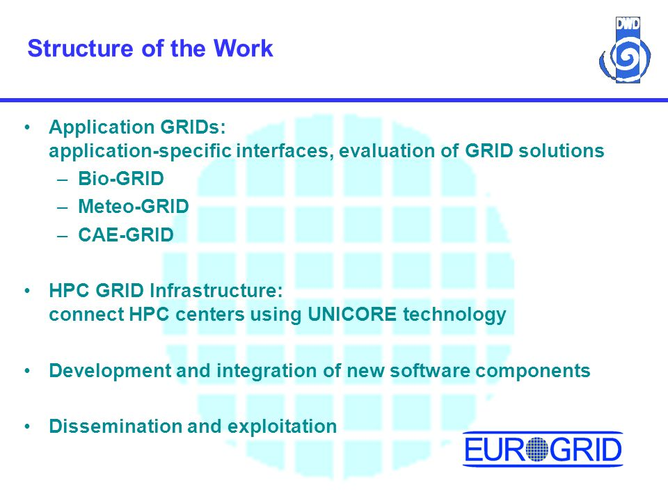 Structure of the Work Application GRIDs: application-specific interfaces, evaluation of GRID solutions –Bio-GRID –Meteo-GRID –CAE-GRID HPC GRID Infrastructure: connect HPC centers using UNICORE technology Development and integration of new software components Dissemination and exploitation