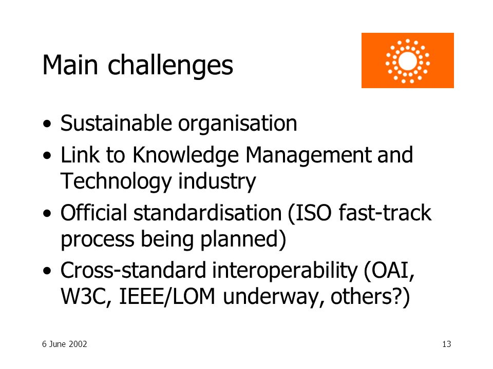 6 June 200213 Main challenges Sustainable organisation Link to Knowledge Management and Technology industry Official standardisation (ISO fast-track process being planned) Cross-standard interoperability (OAI, W3C, IEEE/LOM underway, others )