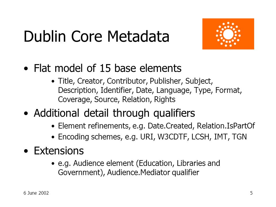 6 June 20025 Dublin Core Metadata Flat model of 15 base elements Title, Creator, Contributor, Publisher, Subject, Description, Identifier, Date, Language, Type, Format, Coverage, Source, Relation, Rights Additional detail through qualifiers Element refinements, e.g.