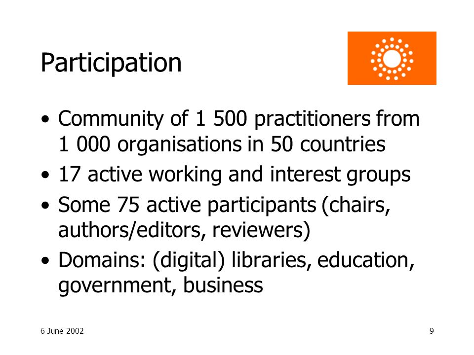 6 June 20029 Participation Community of 1 500 practitioners from 1 000 organisations in 50 countries 17 active working and interest groups Some 75 active participants (chairs, authors/editors, reviewers) Domains: (digital) libraries, education, government, business