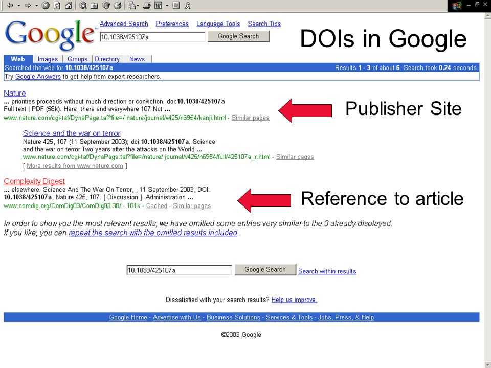 17 Ed Pentz, CrossRef DOIs in Google Reference to article Publisher Site
