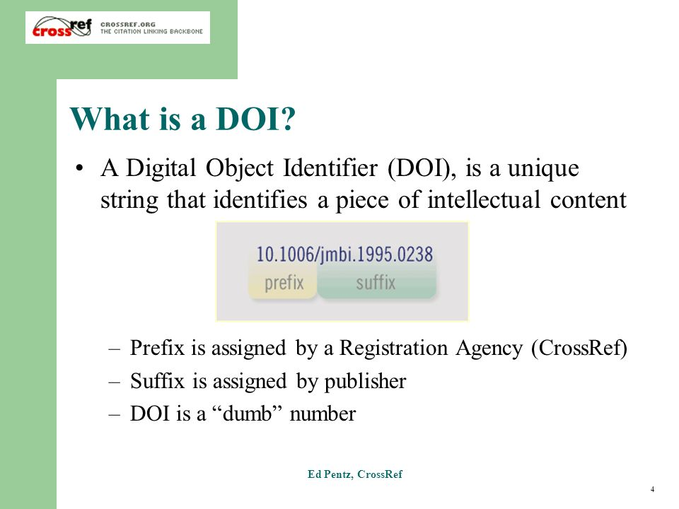 4 Ed Pentz, CrossRef What is a DOI.