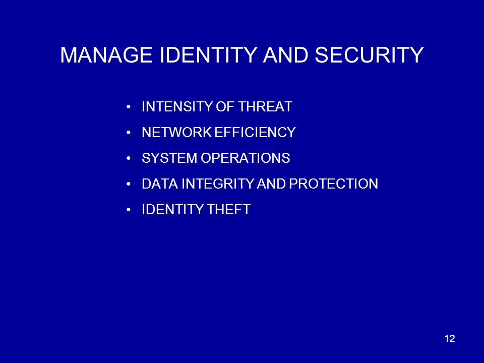 12 MANAGE IDENTITY AND SECURITY INTENSITY OF THREAT NETWORK EFFICIENCY SYSTEM OPERATIONS DATA INTEGRITY AND PROTECTION IDENTITY THEFT