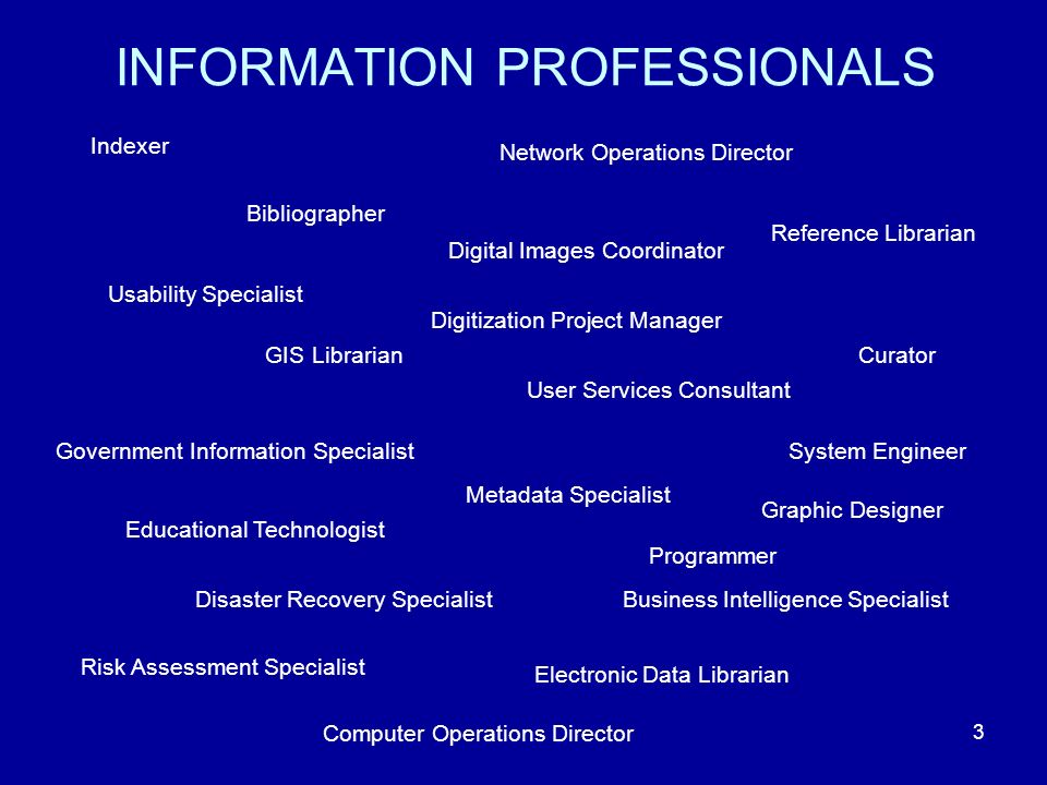 3 INFORMATION PROFESSIONALS Indexer Bibliographer Network Operations Director Reference Librarian Digital Images Coordinator Curator Usability Specialist GIS Librarian User Services Consultant Government Information Specialist Metadata Specialist System Engineer Disaster Recovery SpecialistBusiness Intelligence Specialist Risk Assessment Specialist Electronic Data Librarian Digitization Project Manager Educational Technologist Programmer Graphic Designer Computer Operations Director