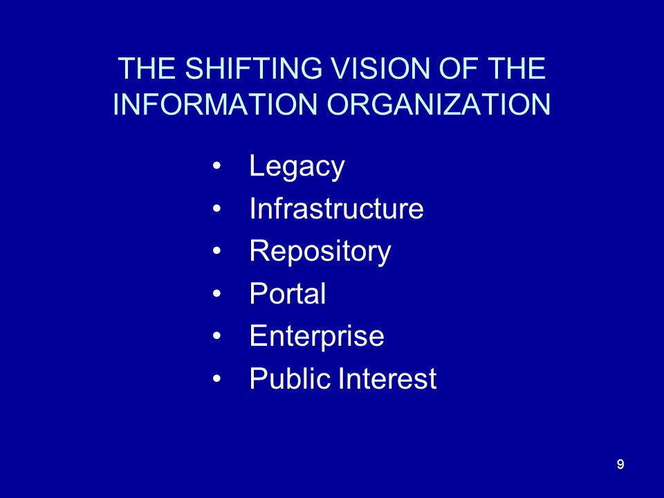 9 THE SHIFTING VISION OF THE INFORMATION ORGANIZATION Legacy Infrastructure Repository Portal Enterprise Public Interest