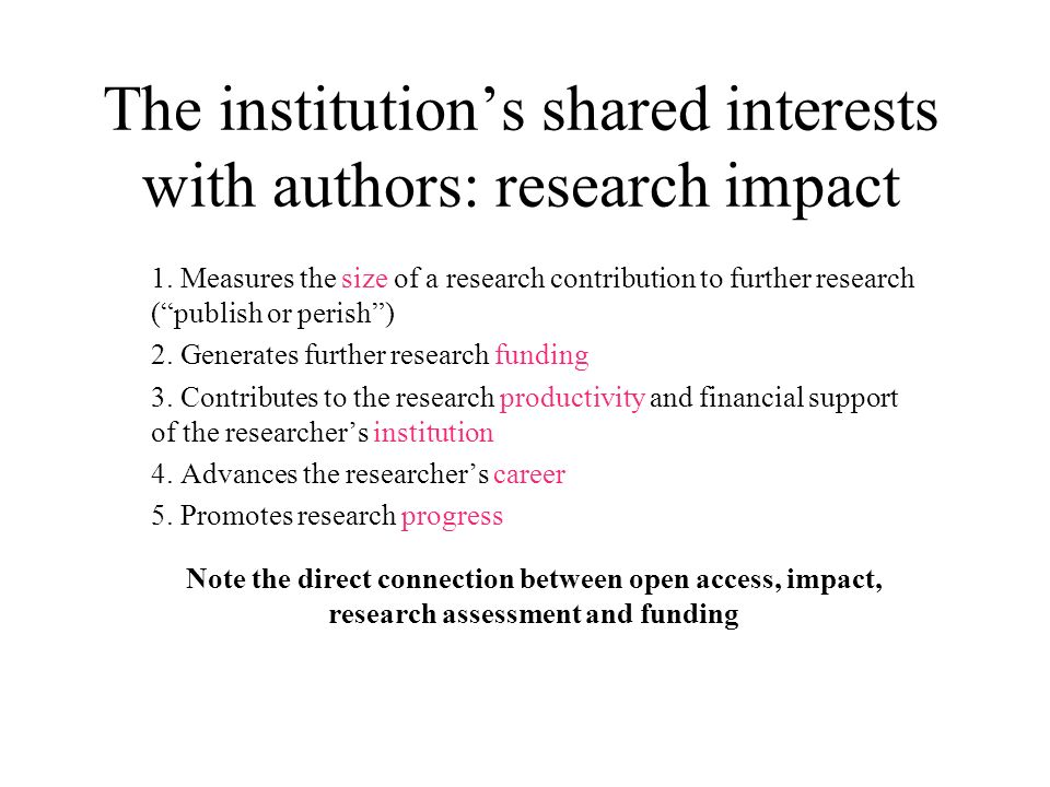 The institutions shared interests with authors: research impact 1.
