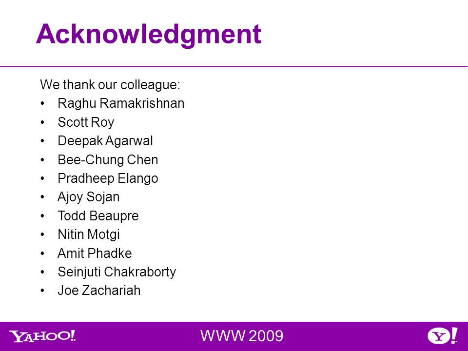 Acknowledgment WWW 2009 We thank our colleague: Raghu Ramakrishnan Scott Roy Deepak Agarwal Bee-Chung Chen Pradheep Elango Ajoy Sojan Todd Beaupre Nitin Motgi Amit Phadke Seinjuti Chakraborty Joe Zachariah