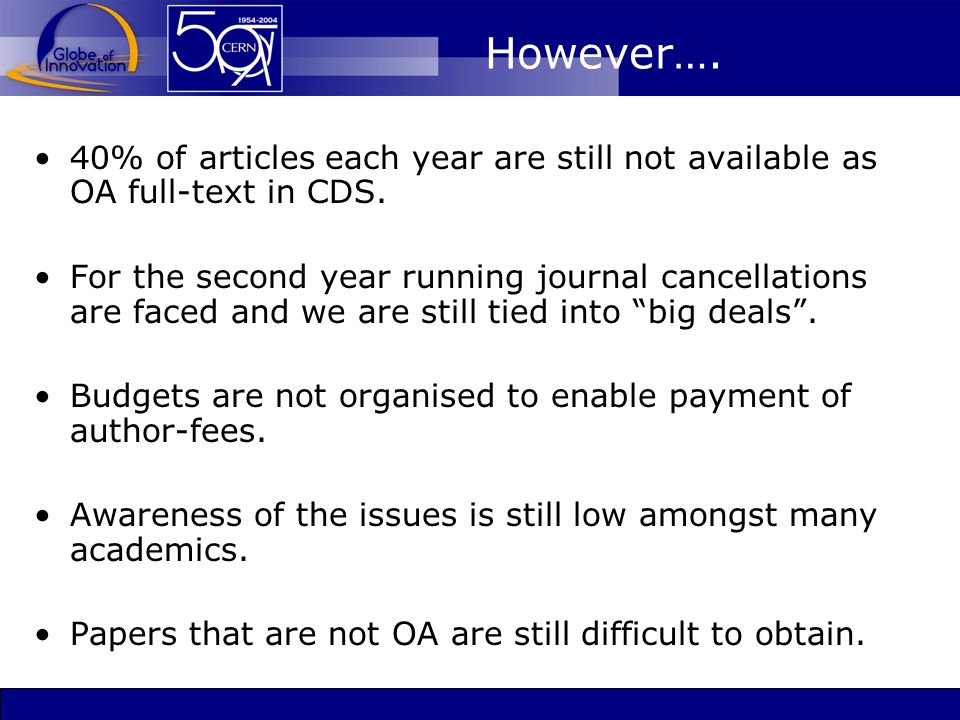 However…. 40% of articles each year are still not available as OA full-text in CDS.