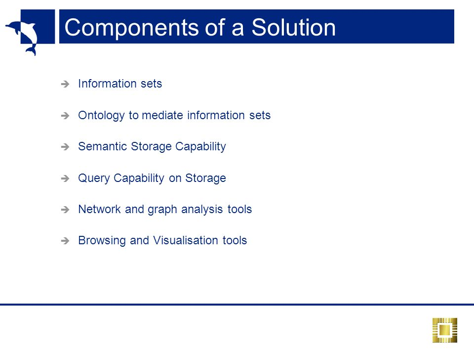 Components of a Solution Information sets Ontology to mediate information sets Semantic Storage Capability Query Capability on Storage Network and graph analysis tools Browsing and Visualisation tools