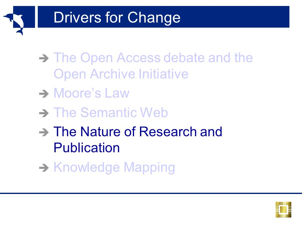 Drivers for Change The Open Access debate and the Open Archive Initiative Moores Law The Semantic Web The Nature of Research and Publication Knowledge Mapping
