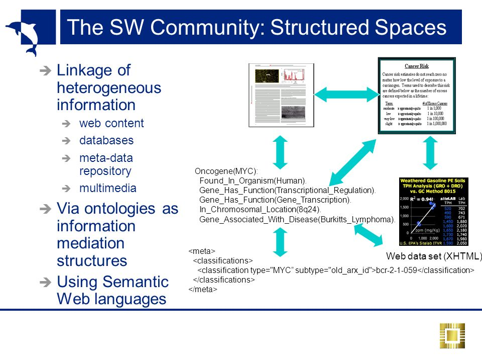 The SW Community: Structured Spaces Linkage of heterogeneous information web content databases meta-data repository multimedia Via ontologies as information mediation structures Using Semantic Web languages Oncogene(MYC): Found_In_Organism(Human).