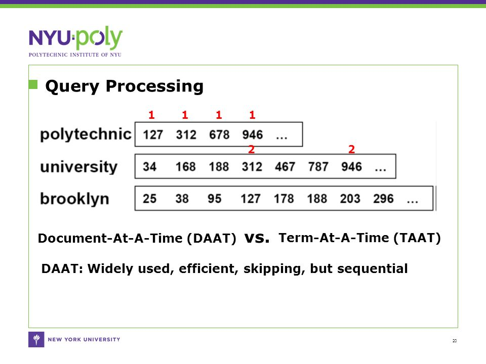 Query Processing 20 1 1 1 1 2 2 Document-At-A-Time (DAAT) vs.