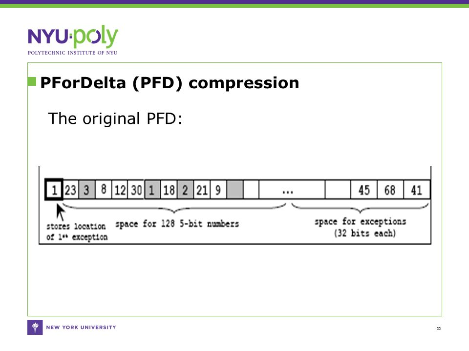 PForDelta (PFD) compression 30 The original PFD: