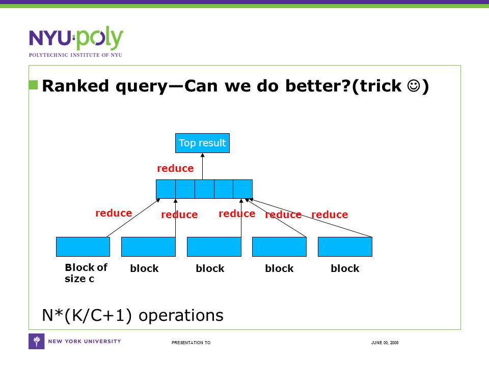 JUNE 00, 2008PRESENTATION TO Ranked queryCan we do better (trick ) reduce Top result Block of size c block N*(K/C+1) operations