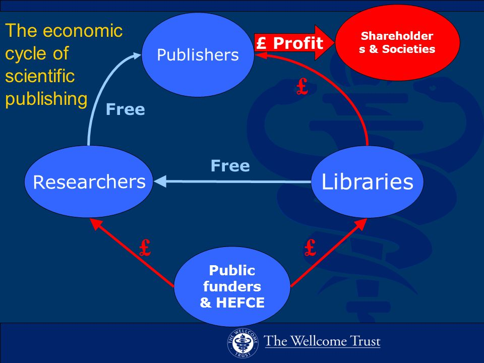 The economic cycle of scientific publishing Free Publishers Libraries Researchers Shareholder s & Societies Public funders & HEFCE £ Profit Free £ ££
