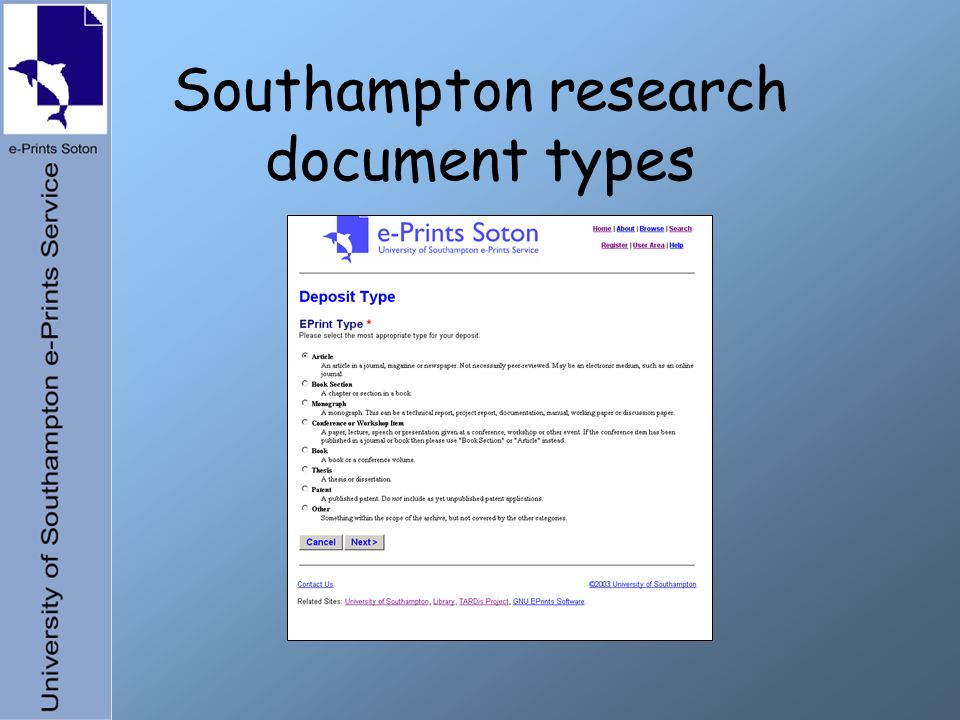 Southampton research document types