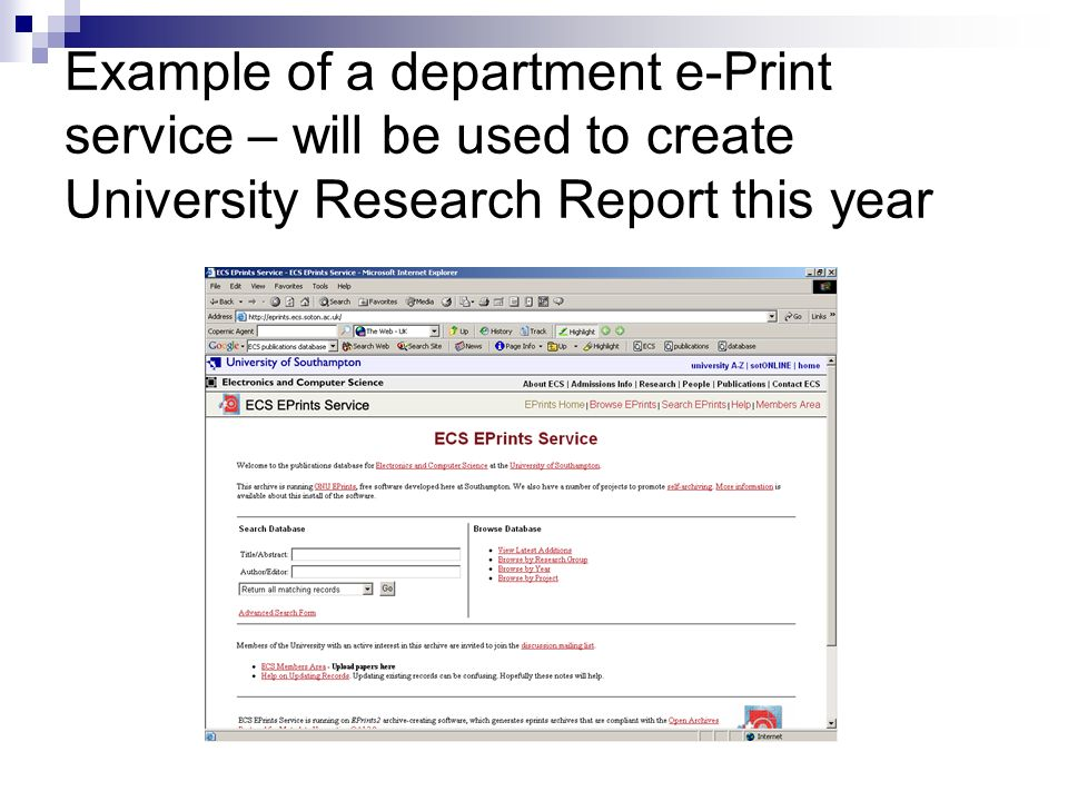 Example of a department e-Print service – will be used to create University Research Report this year