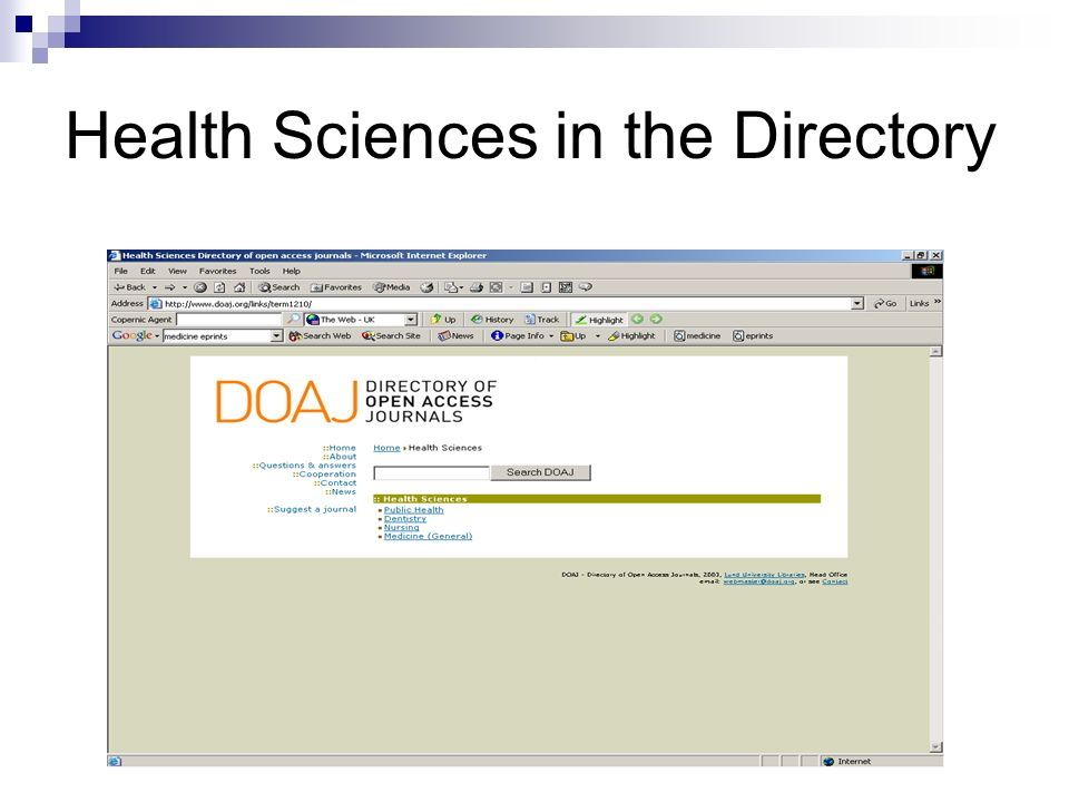 Health Sciences in the Directory