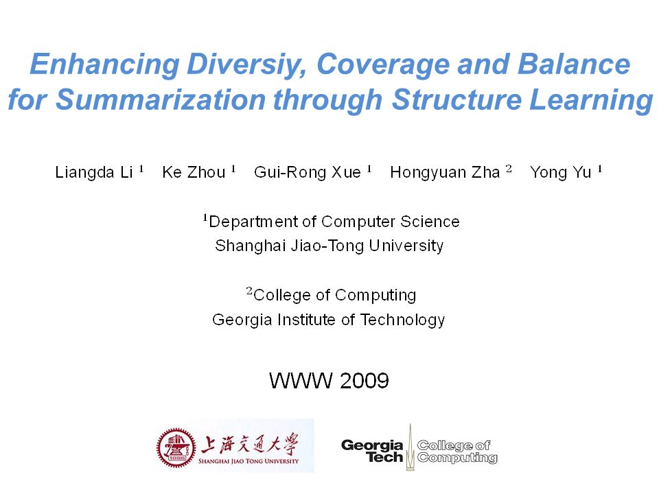 Enhancing Diversiy, Coverage and Balance for Summarization through Structure Learning