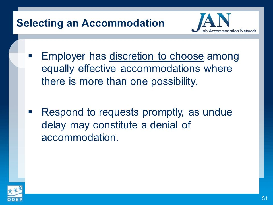 Employer has discretion to choose among equally effective accommodations where there is more than one possibility.