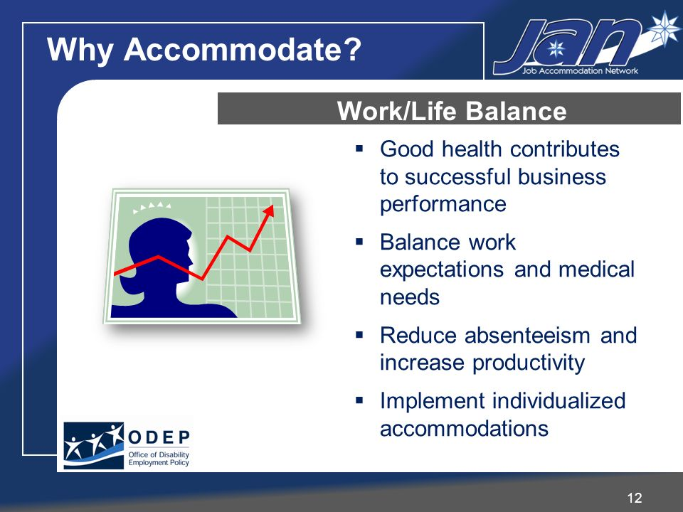 Good health contributes to successful business performance Balance work expectations and medical needs Reduce absenteeism and increase productivity Implement individualized accommodations 12 Why Accommodate.
