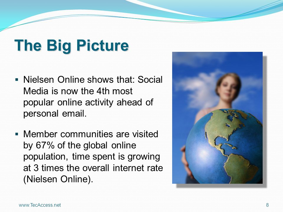 www.TecAccess.net 8 The Big Picture Nielsen Online shows that: Social Media is now the 4th most popular online activity ahead of personal email.