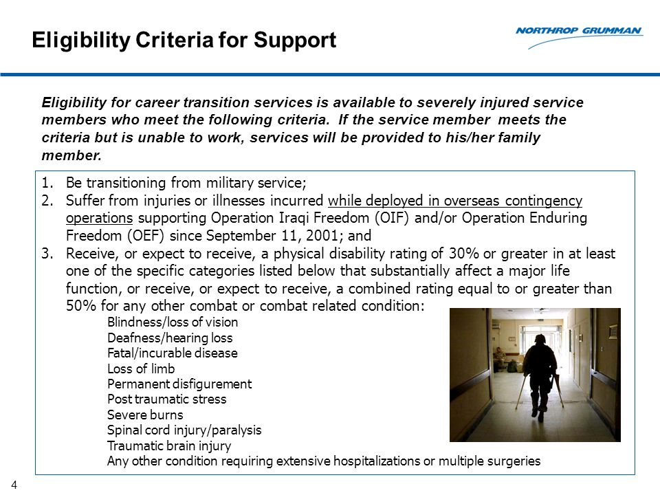 4 Eligibility for career transition services is available to severely injured service members who meet the following criteria.