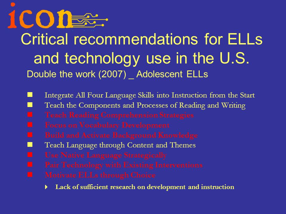 Critical recommendations for ELLs and technology use in the U.S.