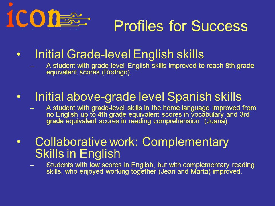Profiles for Success Initial Grade-level English skills –A student with grade-level English skills improved to reach 8th grade equivalent scores (Rodrigo).