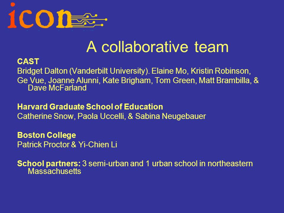 A collaborative team CAST Bridget Dalton (Vanderbilt University).