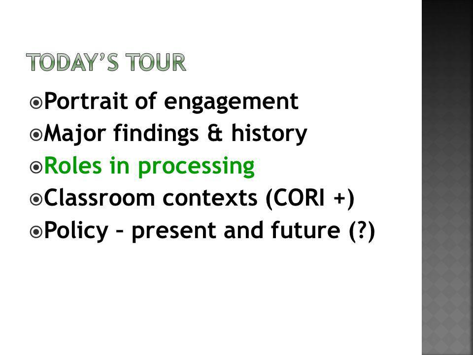 Portrait of engagement Major findings & history Roles in processing Classroom contexts (CORI +) Policy – present and future ( )