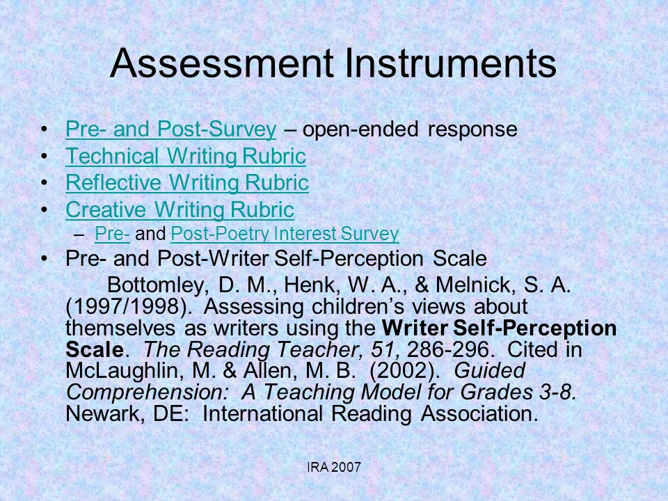 IRA 2007 Assessment Instruments Pre- and Post-Survey – open-ended responsePre- and Post-Survey Technical Writing Rubric Reflective Writing Rubric Creative Writing Rubric –Pre- and Post-Poetry Interest SurveyPre-Post-Poetry Interest Survey Pre- and Post-Writer Self-Perception Scale Bottomley, D.