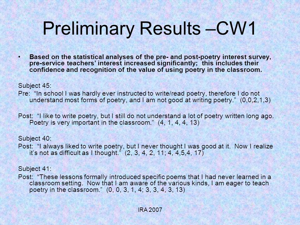 IRA 2007 Preliminary Results –CW1 Based on the statistical analyses of the pre- and post-poetry interest survey, pre-service teachers interest increased significantly; this includes their confidence and recognition of the value of using poetry in the classroom.
